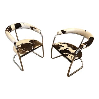 Vintage Cantilevered Chrome Chairs - A Pair