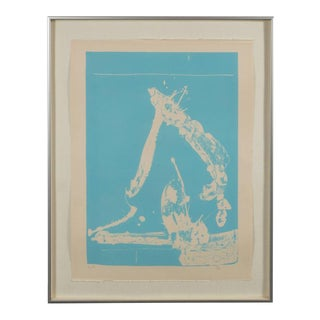 Signed Lithograph by Robert Motherwell Untitled Abstract Pale Blue on White
