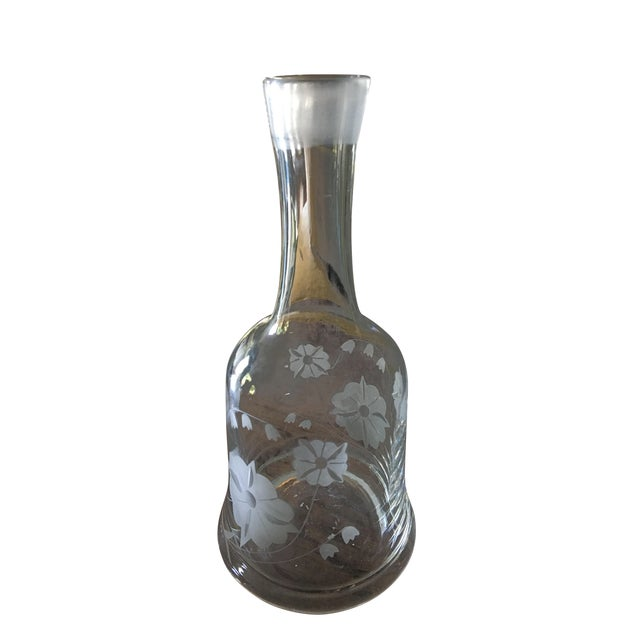 Mid-Century Cut Glass Floral Decanter For Sale