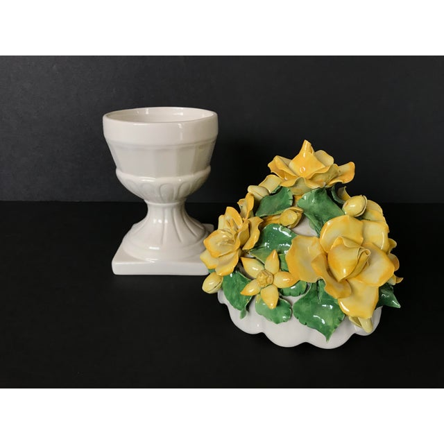 This beautiful two piece ceramic topiary lidded jar from Italy is handcrafted in the Capodimonte style. The lid is covered...