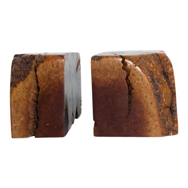Mid Century Modern Burl Wood Bookends Attr Don Shoemaker For Sale