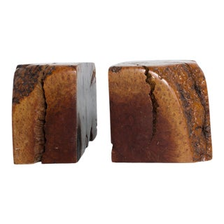 Mid Century Modern Burl Wood Bookends Don Shoemaker Attr For Sale