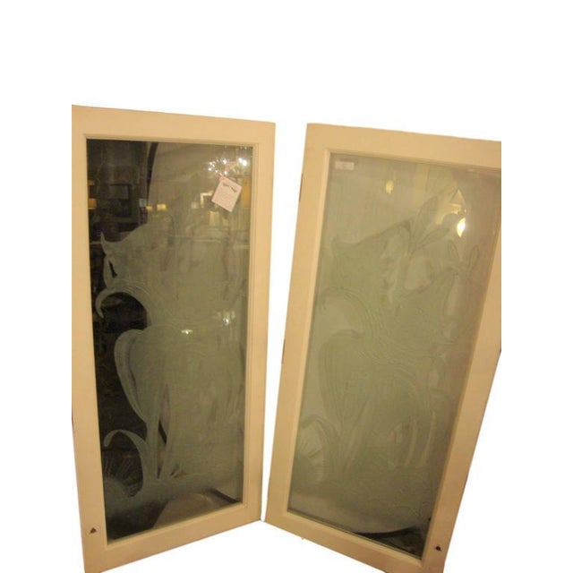 Art Deco Style Etched Glass Wall Decorations - A Pair For Sale In New York - Image 6 of 7