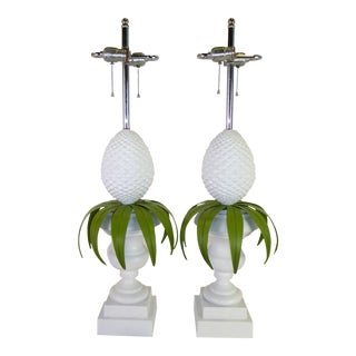 Pair Modern Hollywood Regency White Topiary Table Lamps by Norman Perry, 1970s. For Sale