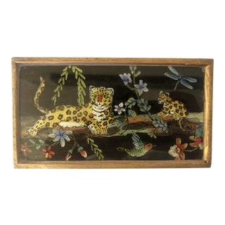 Vintage Leopard Reverse Painted Glass Box For Sale