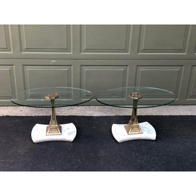 Mid Century Glass Top Marble Base Hollywood Regency Italianate End Tables - a Pair For Sale - Image 10 of 10
