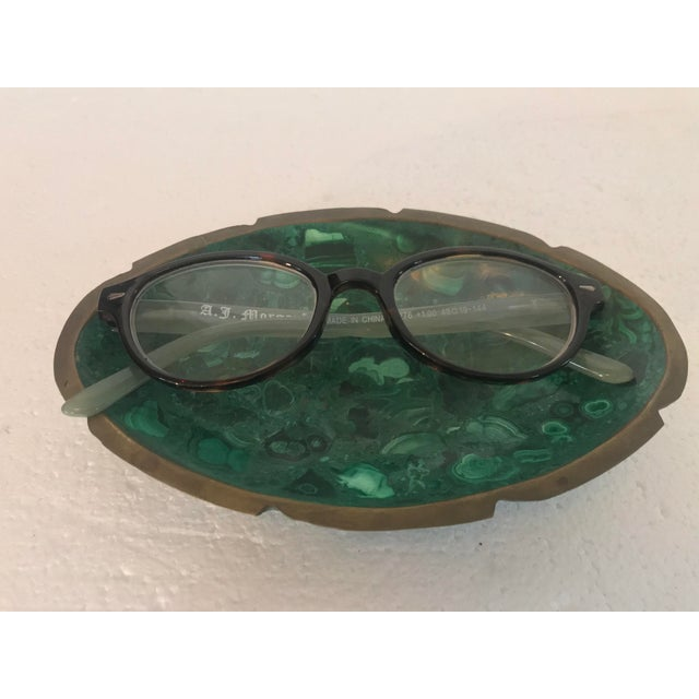 2000 - 2009 Malachite and Brass Ashtray Catchall For Sale - Image 5 of 10