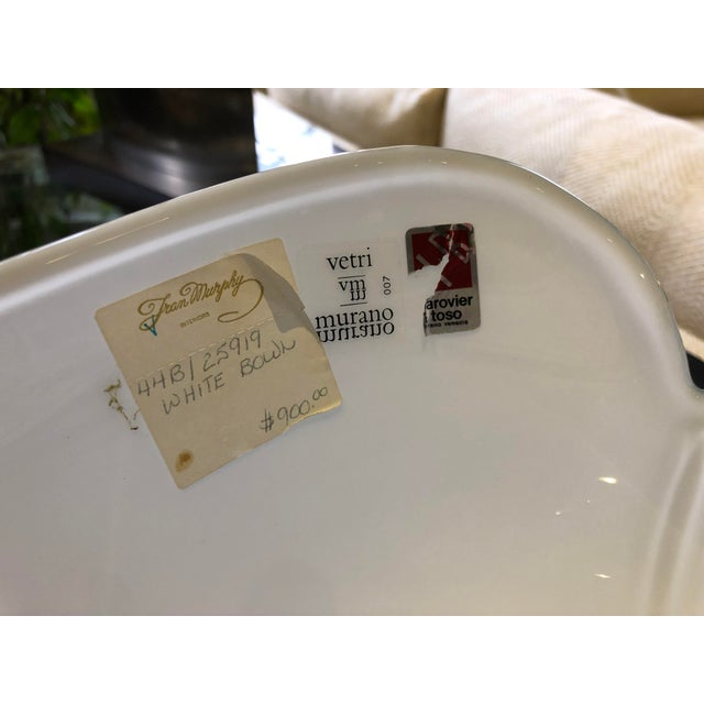 White 1980s Vintage Barovier E Toso Vetri Murano Italian Art Glass Centerpiece Bowl For Sale - Image 8 of 9