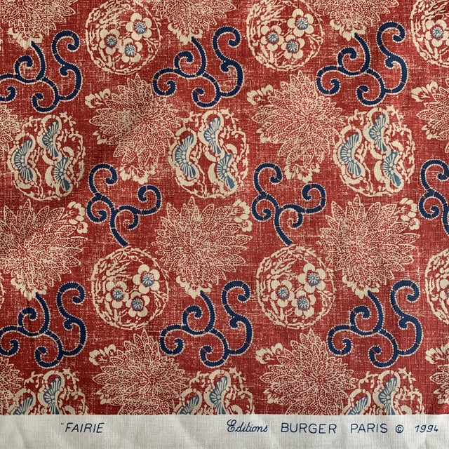 """Quadrille Burger Red and Blue Hand Print """"Faerie"""" Linen Fabric- 7 1/2 Yards. absolutely breathtaking and lovely linen..."""