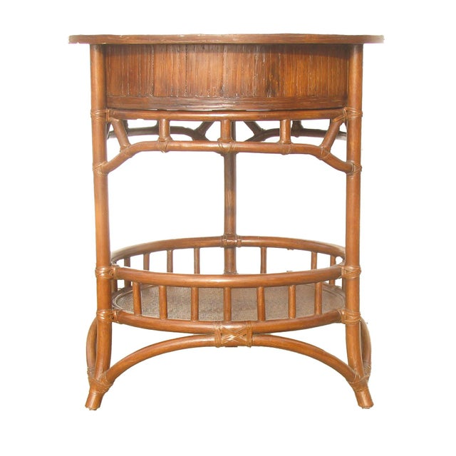 Boho Chic Rattan & Woven Cane Accent Table For Sale - Image 3 of 6