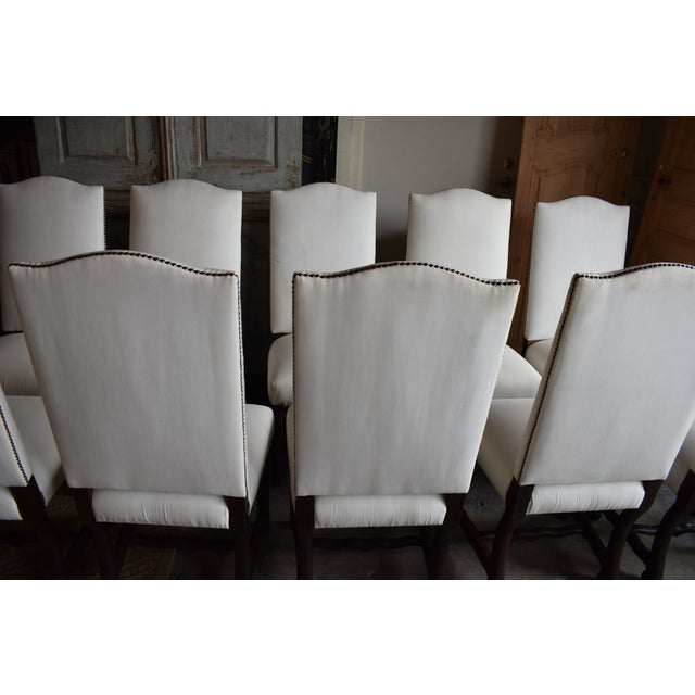 1940s French Provincial Upholstered Os De Mouton Dining Chairs - Set of 10 For Sale - Image 12 of 13