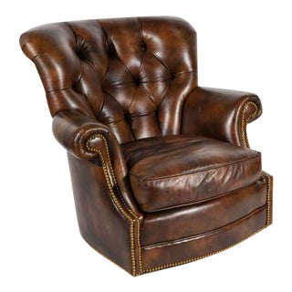 Chesterfield Style Tufted Rocker with Brass Nailheads