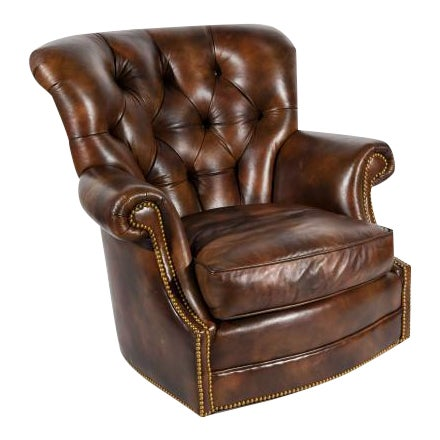 Chesterfield Style Tufted Rocker with Brass Nailheads For Sale