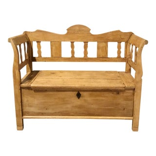 Antique English Pine Storage Bench For Sale
