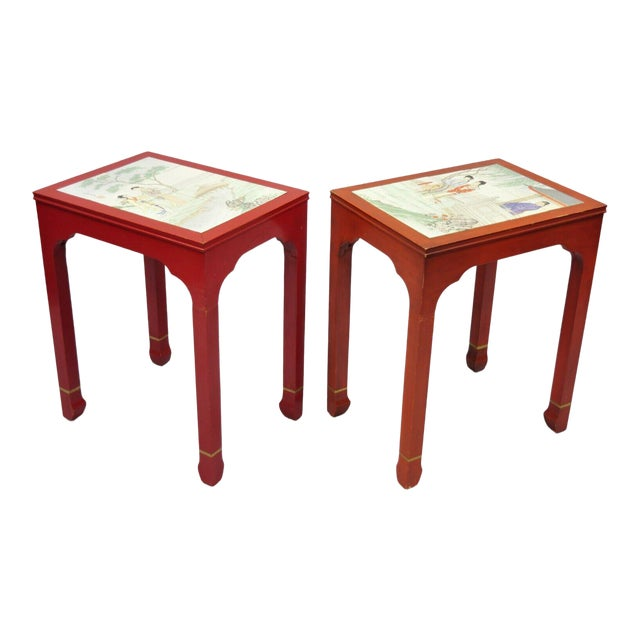 Vintage Oriental Ming Style Red Wooden Side End Tables With Tile Tops - A Pair For Sale