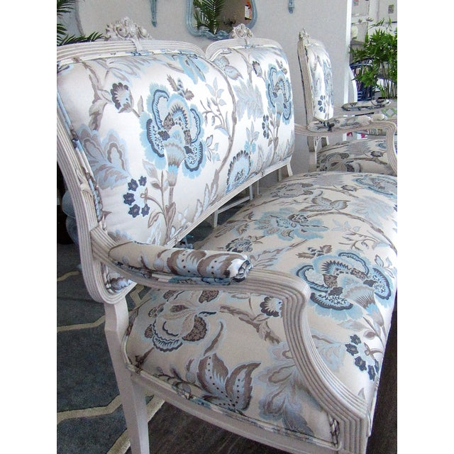 Absolutely Stunning Set ! The French carved wood on both the settee and chair is refinished in an almond / antique white...