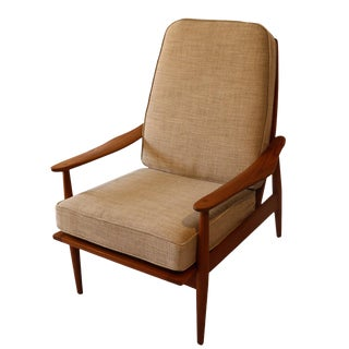 Mid-Century Teak High Back Lounge Chair