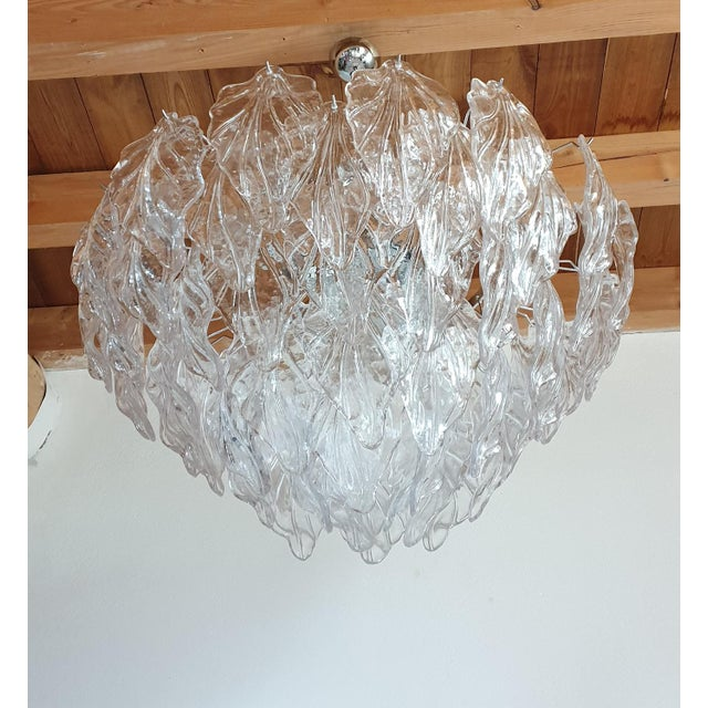 1970s 1970s Mid Century Modern Murano Glass Leaves Chandelier For Sale - Image 5 of 11