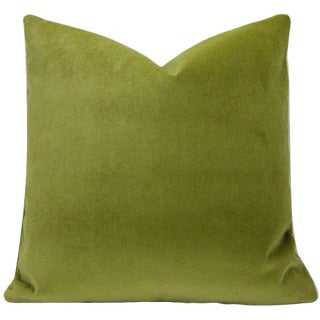 Contemporary Moss Green Velvet Pillow Cover - 24 Inch For Sale