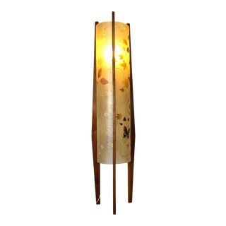 Vintage Wood Sculptural Floor Lamp With Integrated Resin Shade With Pressed Leaves and Butterflies For Sale
