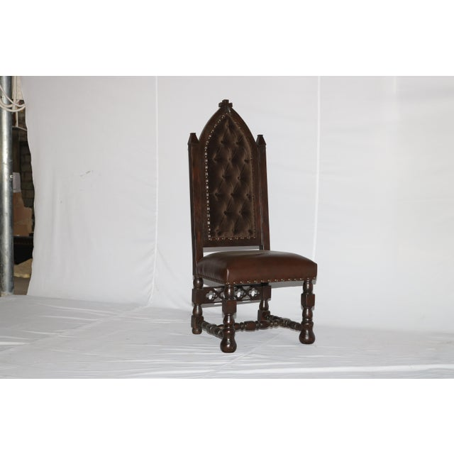 Gothic Gothic Cross Tufted Dining Chair For Sale - Image 3 of 7