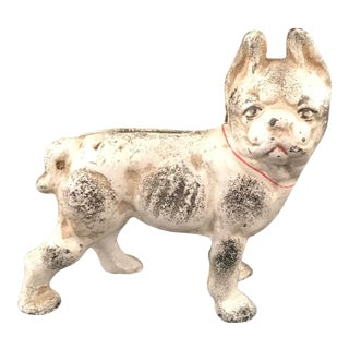 Early 20th Century Miniature Cast Iron Dog Bank For Sale