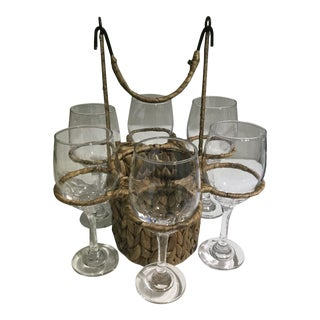 Wine Glasses Set in Woven Basket - 6 Glasses For Sale