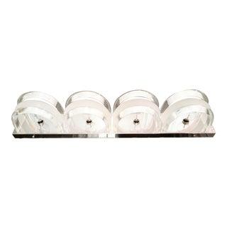 Vintage Arched Bent Lucite Chrome Mid Century Modern 4 Light Bathroom Vanity Light Fixture For Sale