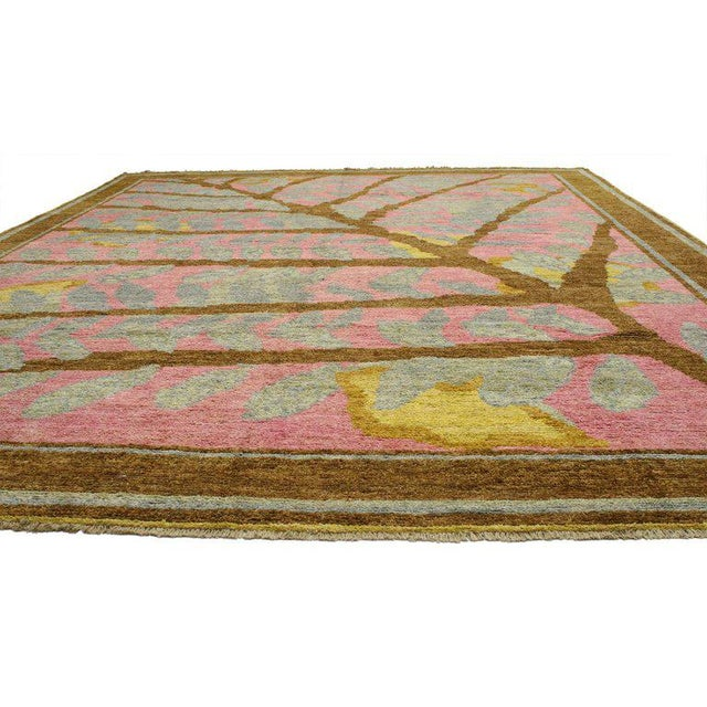 80409, contemporary Moroccan area rug with tree and leaves. This beautiful Moroccan style rug features a tree branch...