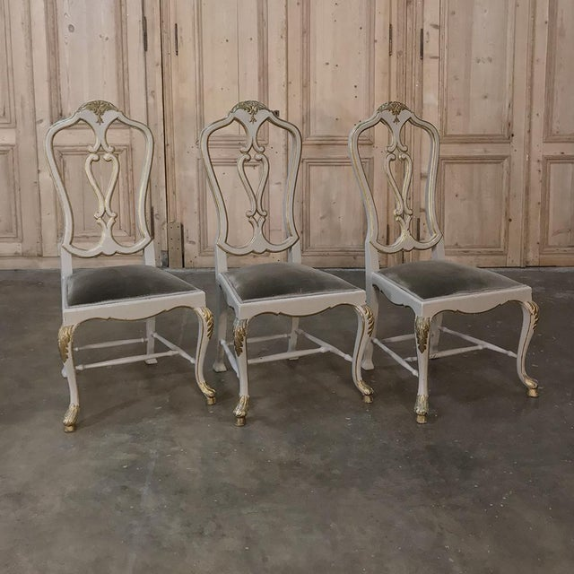 Eight 19th CenturyPainted and Gilded Italian Dining Chairs- Set of 8 For Sale - Image 9 of 13