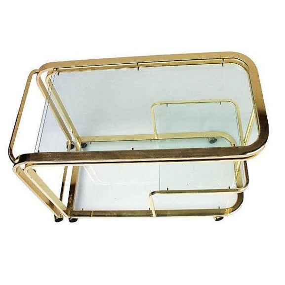Brass and Glass Bar Cart by Milo Baughman for DIA - Image 3 of 5