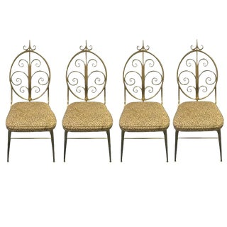 Mid-Century Modern Brass Dining Chairs - Set of 4