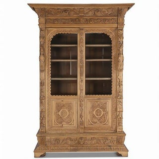 19th Century Antique Carved Renaissance Oak China Cabinet Preview