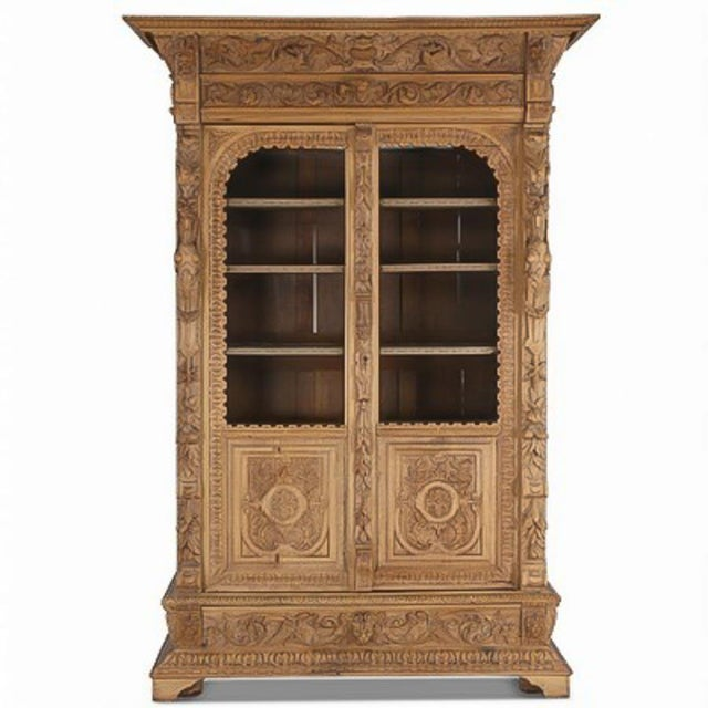Even more impressive in person, the elaborate and detailed hand-carving throughout this entire oak cabinet reminds one how...