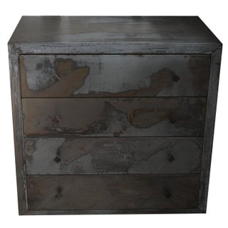 Acid Washed 1990s Metal Wrapped Beechwood Dresser For Sale