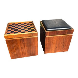 Mid Century Lane Walnut Game Cube Storage Ottomans - a Pair For Sale