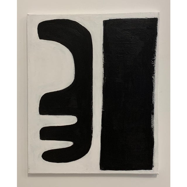 """Abstract Original Graphic Black and White """"Abstract Forms"""" Painting For Sale - Image 3 of 3"""