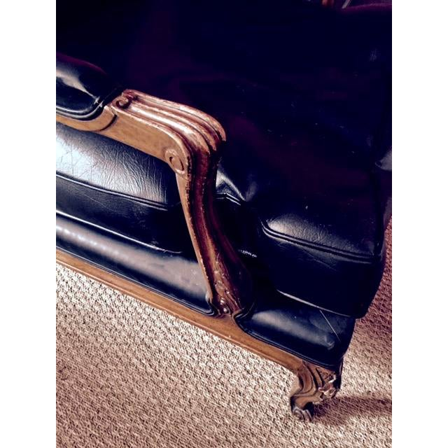 Vintage Black Leather Upholstered Bergere Chair For Sale - Image 5 of 5