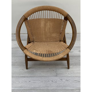 1950s Vintage Illum Wikkelso Ringstol Walnut and Woven Cord Ring Hoop Circle Chair Preview