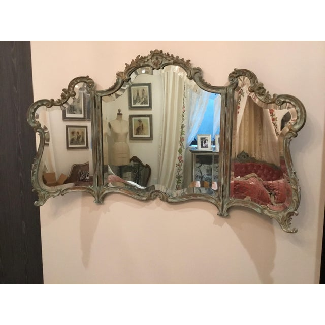 French Antique Wood Carved Triptych Mirror For Sale - Image 3 of 11
