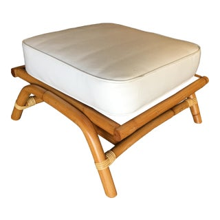 """Restored Single Stand Rattan Arched """"Hopper"""" Ottoman Stool For Sale"""