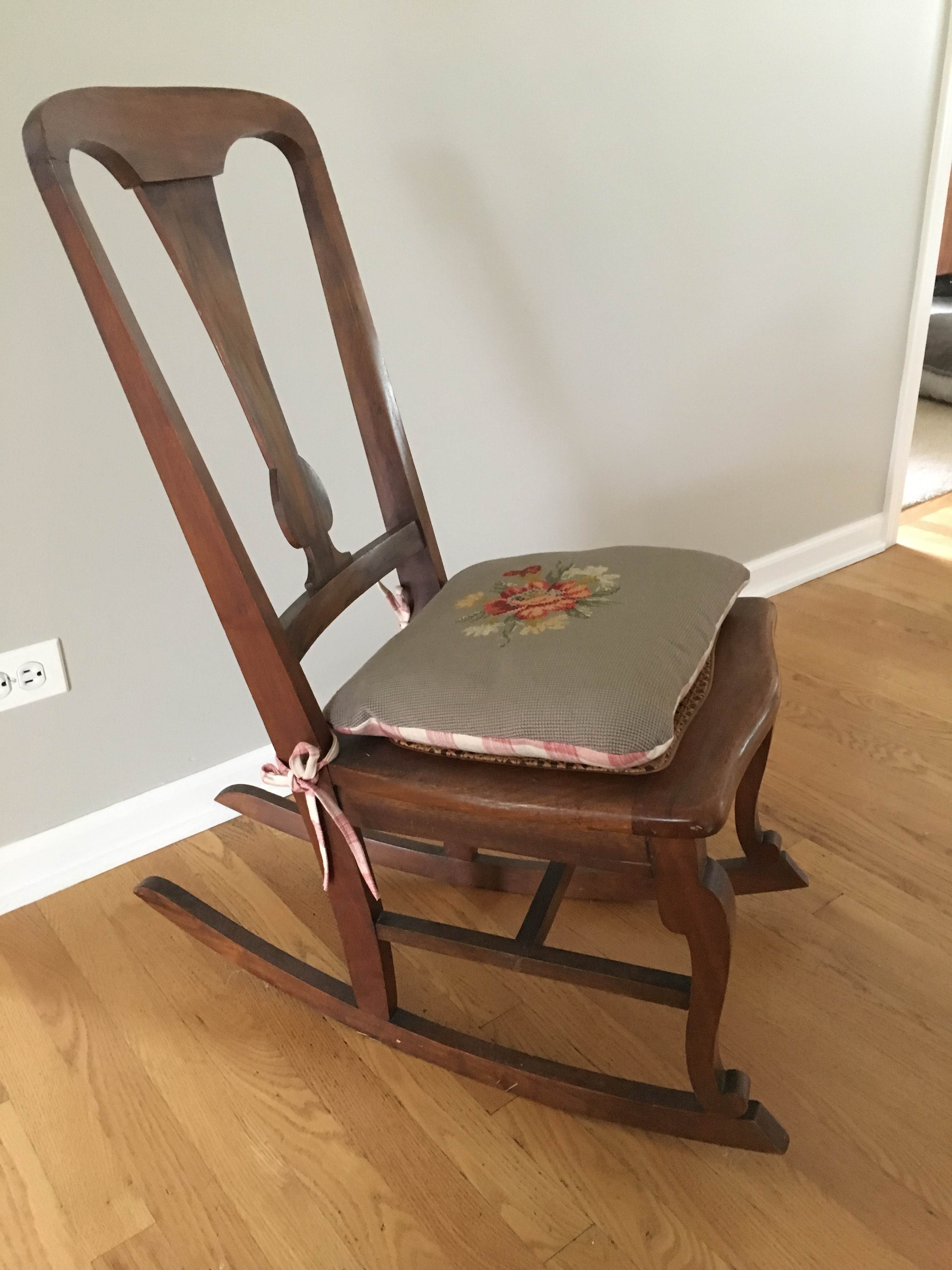 Bon Early 20th Century Antique Cane Seat Rocking Chair And Needlepoint Pillow  Seat  2 Pieces For