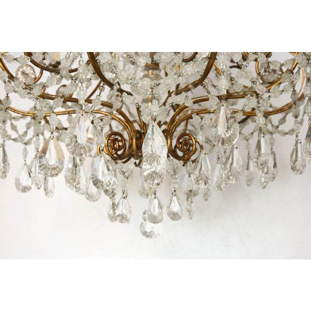 Italian Unusual Ten-Light Gilded Iron Italian Chandelier, Early 20th Century For Sale - Image 3 of 10