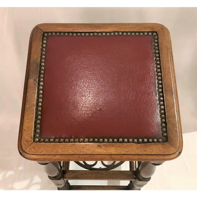 Late 19th Century Antique French Country Oak and Iron Tavern Bar Stool With Leather Seat, Circa 1890-1910. For Sale - Image 5 of 6