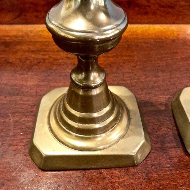 Mid 19th Century Pair 19th C. Brass Candlesticks For Sale - Image 5 of 6