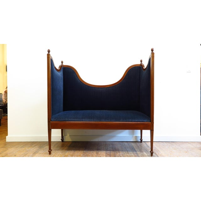 Blue Antique Sheraton Style Settee For Sale - Image 8 of 13
