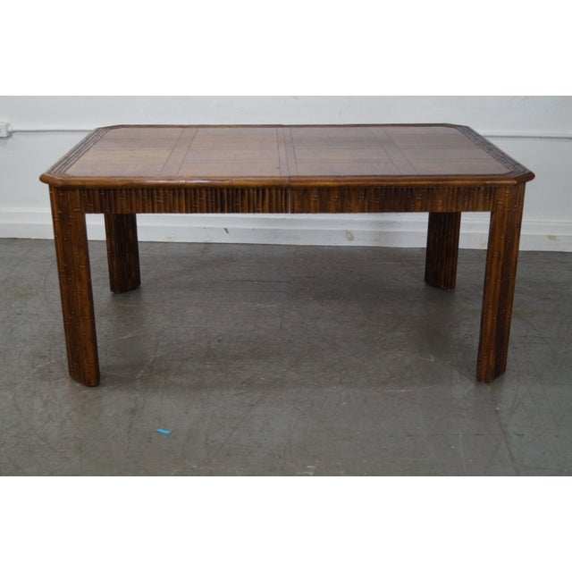 Faux Bamboo Parquet Top Extension Dining Table For Sale - Image 5 of 10