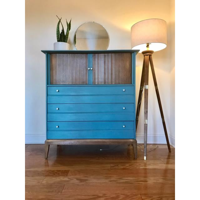 This is an incredible dresser or chest of drawers by Oskar Huber, a Philadelphia based furniture company. This piece has...