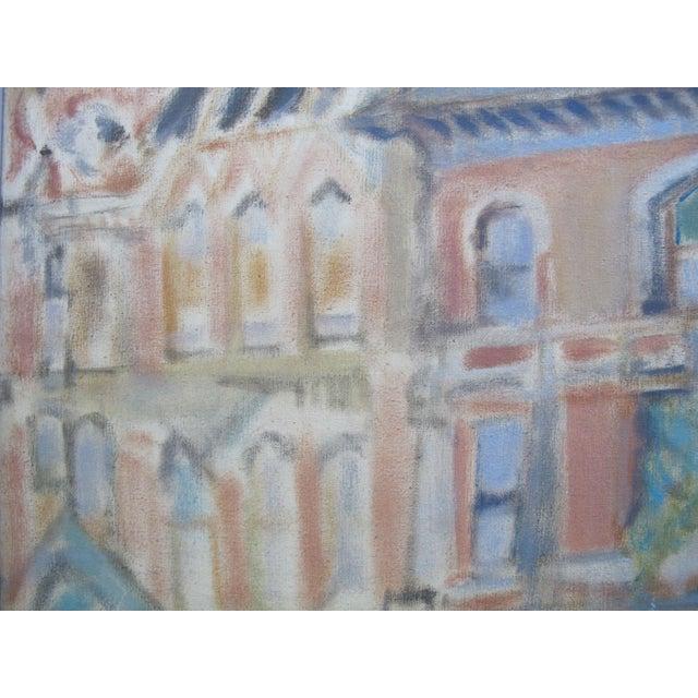 1950s 1957 LaVerne Krause Signed Idaho Coeur d'Alene Building Framed Oil Painting For Sale - Image 5 of 9
