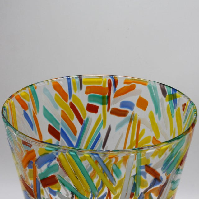 Murano Glass Vase With Colorful Etched Detailing, C. 1960 For Sale In Dallas - Image 6 of 7
